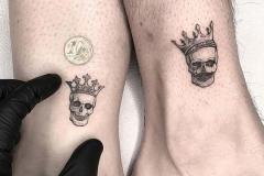 Татуировка : Череп, Корона, Луна, Парные на щиколотке