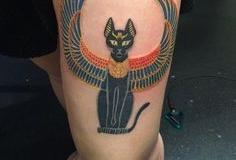 Татуировка : Животные, Цветные, Кошка на бедре
