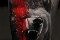 Татуировка : Животные, Цветные, Медведь на бедре