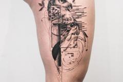 Татуировка : Узор, Птицы, Сова на бедре