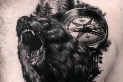 Тату : Животные, Медведь, Время на груди