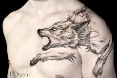 Тату : Животные, Волк на груди