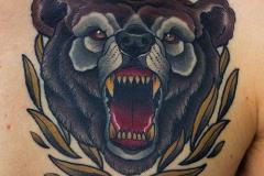 Тату : Животные, Цветные, Медведь на груди