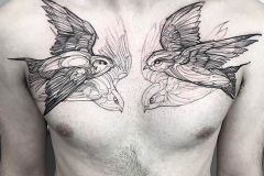 Наколка : Птицы, Ласточка на груди
