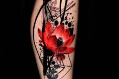 Наколка : Цветы, Цветные, Узор на голени (икре)
