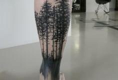 Татуировка : Деревья на голени (икре)