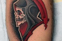 Татуировка : Череп, Смерть, Цветные на голени (икре)