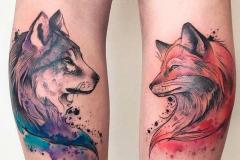 Татуировка : Животные, Лиса, Цветные, Волк на голени (икре)
