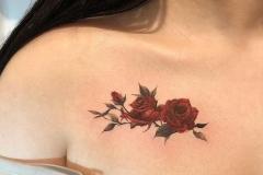 Татуировка : Цветы, Цветные на ключице