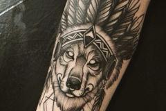 Тату : Животные, Рукав, Волк на плече