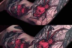 Татуировка : Череп, Цветные, Паук на плече