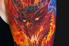Татуировка : Рукав, Цветные, Дракон на плече