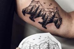 Наколка : Животные, Медведь, Горы на плече