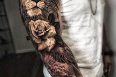 Татуировка : Рукав, Цветы, Роза на плече