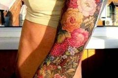 Наколка : Рукав, Цветы, Цветные, Роза на плече