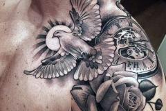 Наколка : Птицы, Роза, Солнце, Время на плече