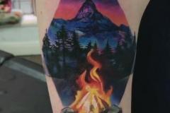 Тату : Цветные, Огонь, Горы на плече