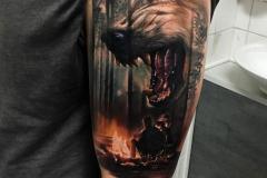 Татуировка : Волк, Животные, Рукав, Цветные на плече