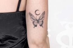 Наколка : Луна, Бабочка на плече