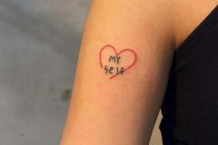 Татушка : Цветные, Сердце, Надпись на плече