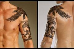 Тату : Рукав, Птицы, Ворон на плече