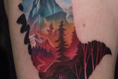 Татуировка : Птицы, Цветные, Узор, Орел на плече