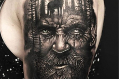 Тату : Люди, Деревья, Волк, Животные на плече