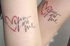 Татушка : Надпись, Сердце, Парные на плече