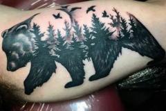 Тату : Медведь, Животные, Деревья на плече