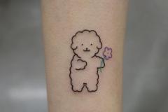 Татуировка : Цветные, Собака, Животные, Цветы на предплечье