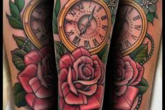 Татуировка : Время, Роза, Цветы, Цветные на предплечье