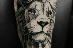 Тату : Лев, Животные, Рукав на предплечье