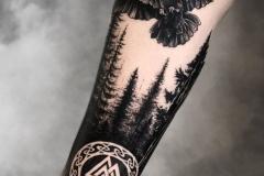Татуировка : Ворон, Птицы, Деревья, Рукав на предплечье