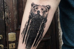 Наколка : Медведь, Деревья, Животные на предплечье