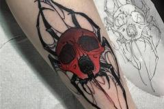 Татуировка : Паук, Череп, Цветные на предплечье