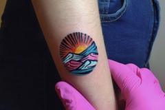 Татуировка : Цветные, Солнце, Горы на предплечье