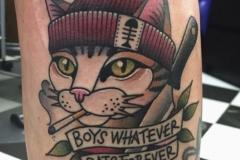 Тату : Кошка, Животные, Цветные, Надпись на предплечье