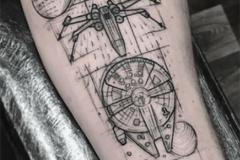 Татуировка : Самолет, Космос на предплечье