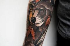 Наколка : Медведь, Цветные на предплечье