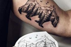 Наколка : Медведь, Горы, Животные на предплечье