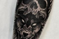 Татуировка : Волк, Животные, Череп на предплечье