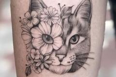Татушка : Кошка, Животные, Цветы на предплечье