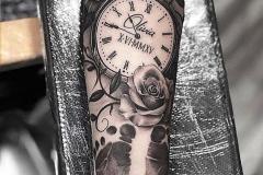 Татуировка : Время, Роза, Цветы, Рукав на предплечье
