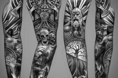 Татуировка : Череп, Боги, Рукав на предплечье