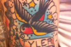 Тату : Ласточка, Птицы, Цветные на предплечье
