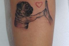 Тату : Животные, Руки, Сердце, Собака на предплечье