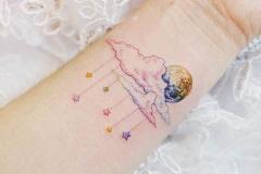 Наколка : Звезды, Космос, Цветные на предплечье