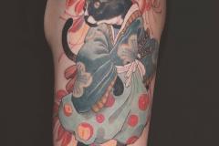 Татуировка : Животные, Кошка, Цветные на предплечье
