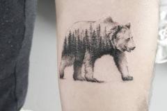 Наколка : Медведь, Деревья на предплечье