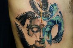 Татуировка : Люди, Цветные, Узор на ребрах